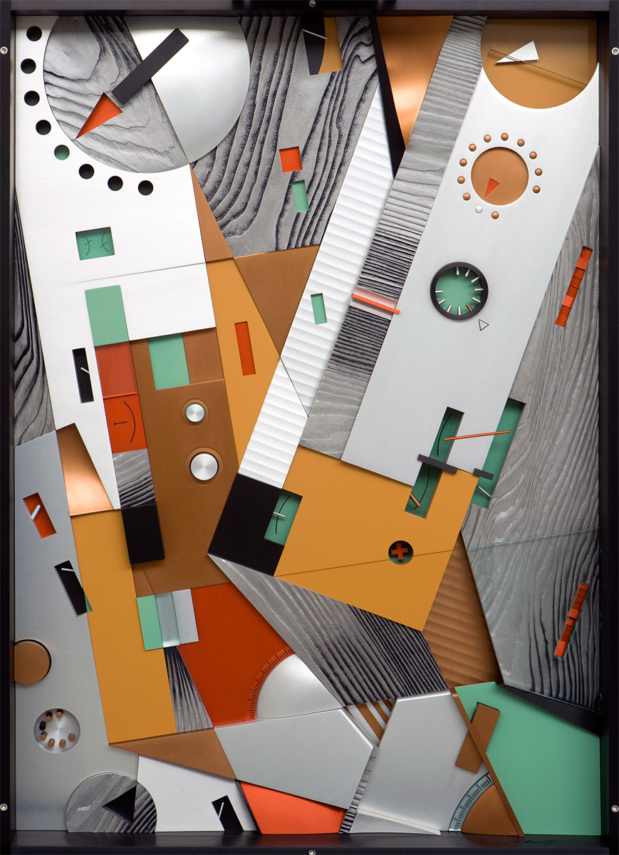 """Tumbling Amplifiers, 2001 <b>Aluminum, stainless steel, acrylic, paint, ink, anodize<br /> 47"""" x 36"""" x 6""""</b>"""