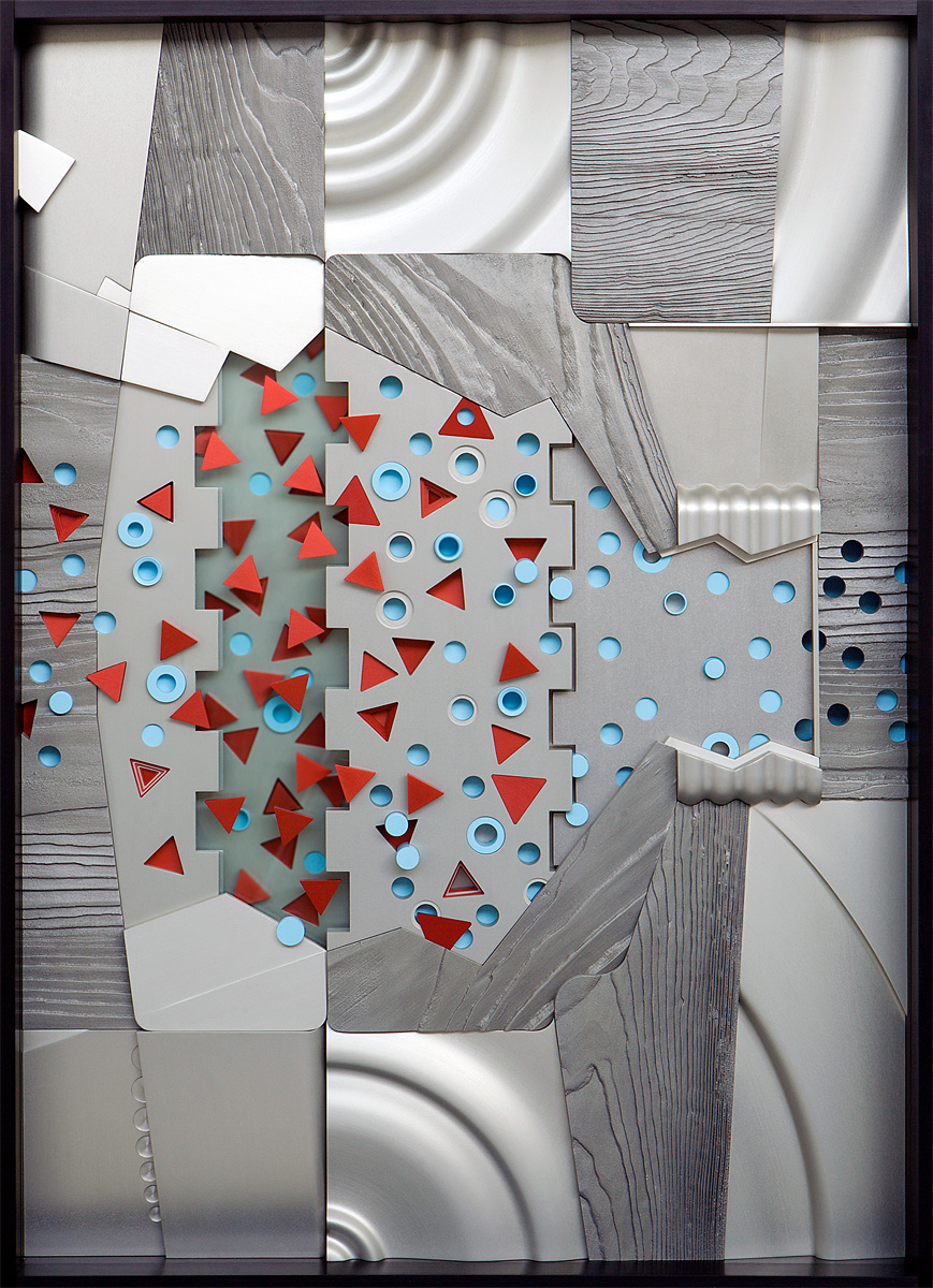 """Severe = Red, 2004 <b>Triptych<br /> ( center )<br /> Aluminum, stainless steel, acrylic, paint, anodize<br /> 47"""" x 36"""" x 5""""</b>"""