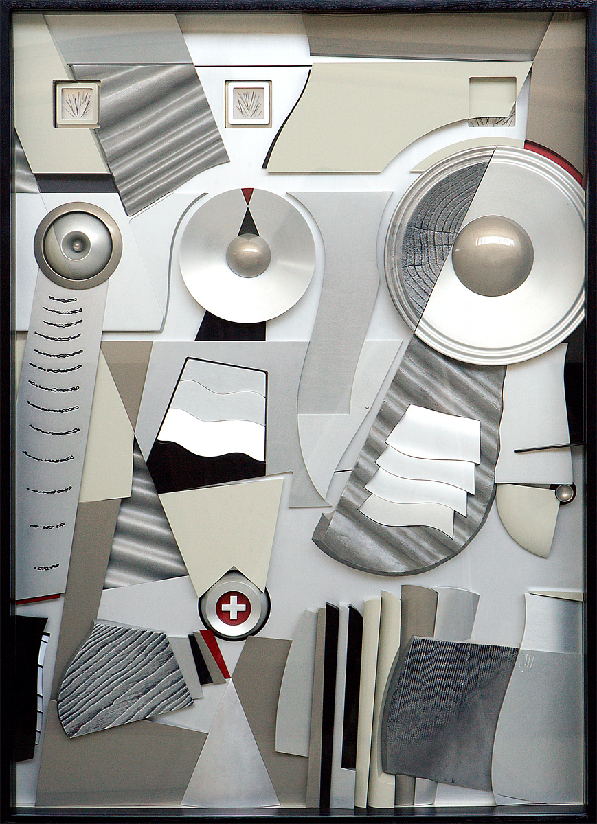 """Woofer, Tweeter and Mid-range, 2000 <b>Aluminum, stainless steel, acrylic, paint, anodize<br /> 47"""" x 36"""" x 5""""</b>"""