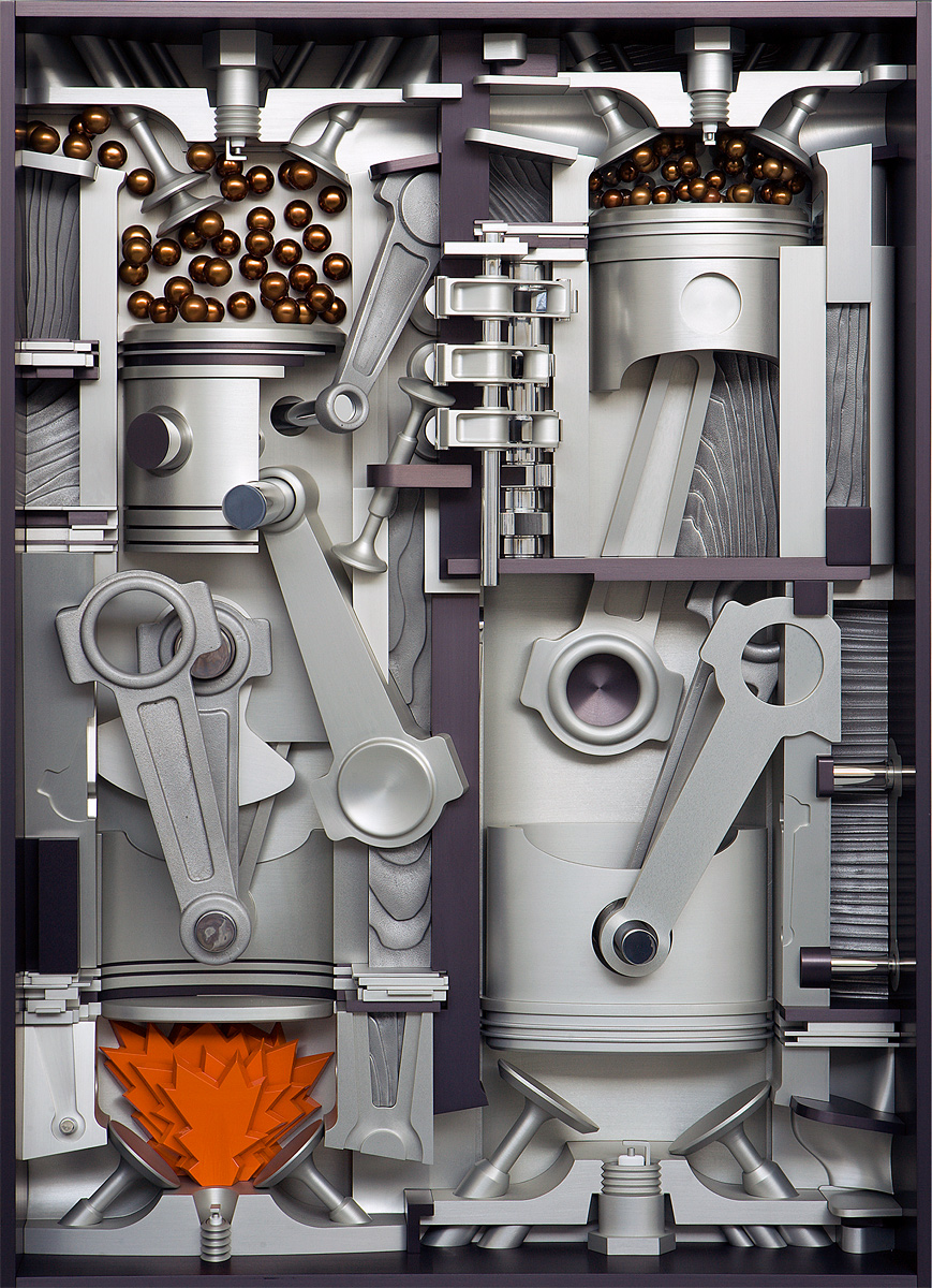 """Intake, Compression, Power, and Exhaust, 2007 <b>Aluminum, stainless steel, acrylic, paint, anodize<br /> 47"""" x 35"""" x 9""""</b>"""