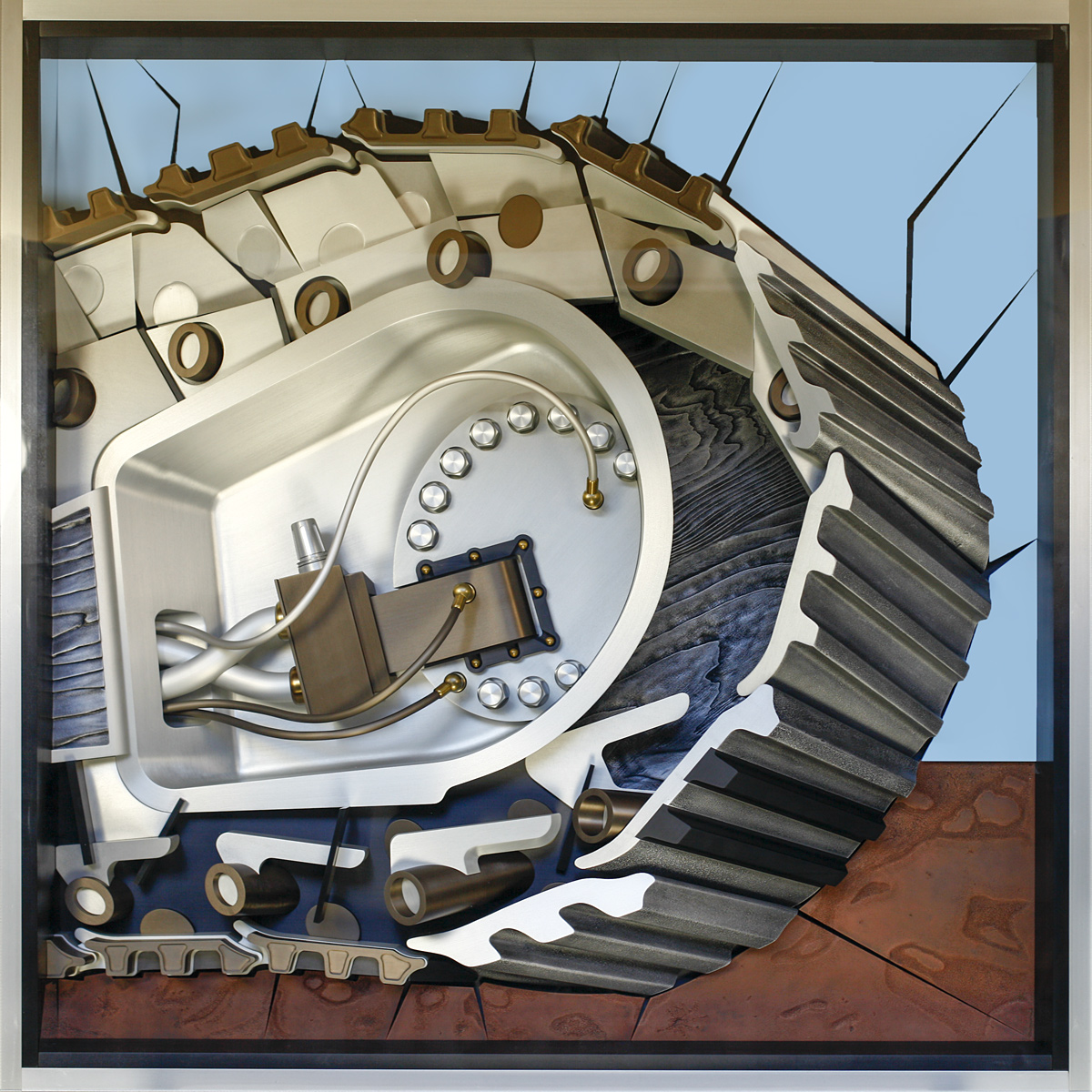 """Tank Treads, 2009 <b>Diptych<br /> ( right )<br /> Aluminum, stainless steel, copper, brass, paint, anodize<br /> 47"""" x 47"""" x 9""""</b>"""