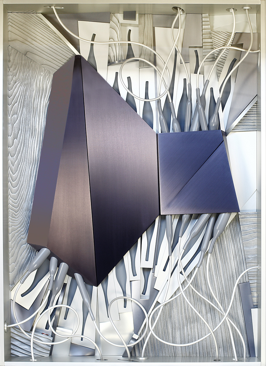"""Cable Box, 2006 <b>Aluminum, stainless steel, paint, anodize<br /> 47"""" x 36"""" x 9""""</b>"""