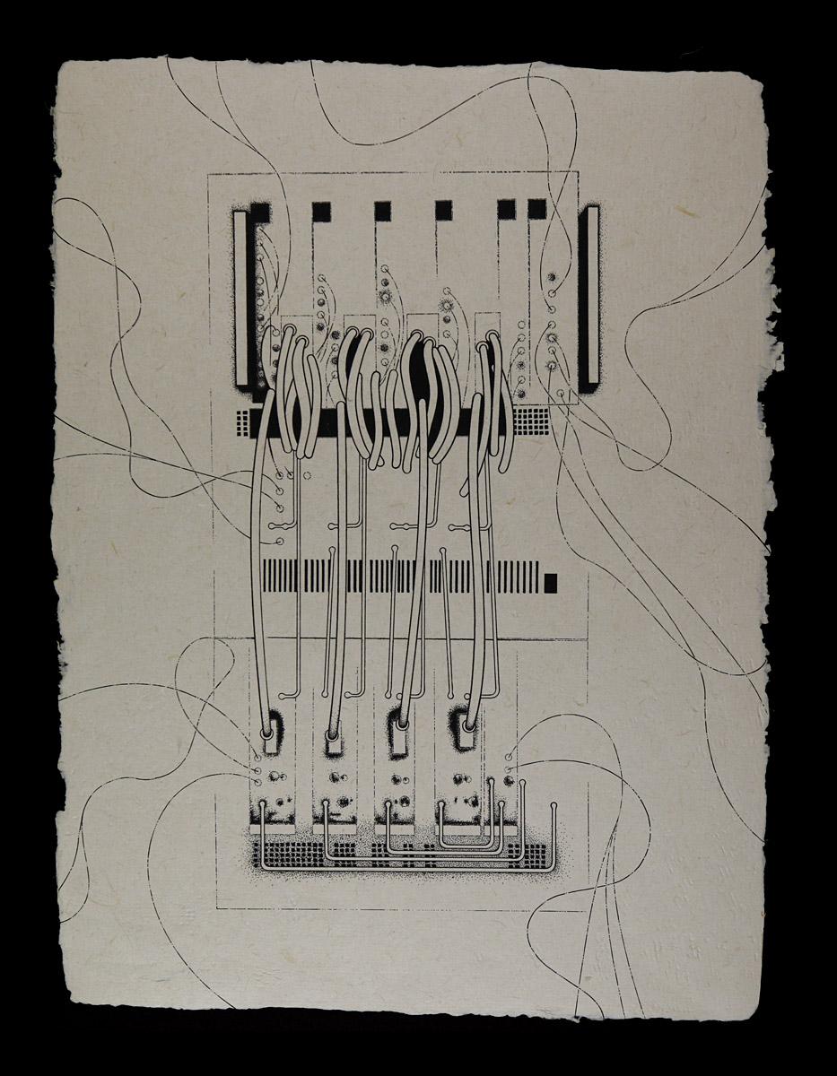 "TSS-40000NG Threat Signal Simulator, 2015<b>Ink on Handmade Yucatan Paper<br /> 12 3/4"" x 17""</b>"