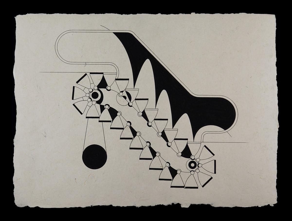 "Escalator Going Up / Descending, 2010<b>Ink on Handmade Yucatan Paper<br /> 12 1/2"" x 17""</b>"